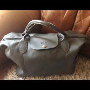Handbags - Grey leather tote bag Long Champ